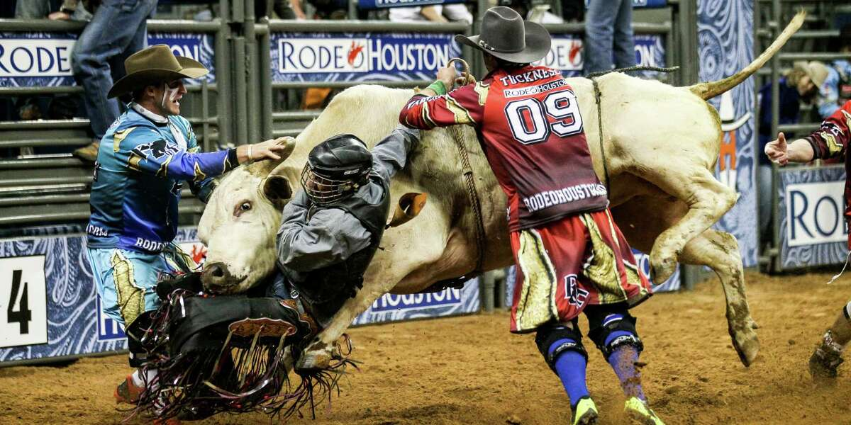 Another of Dave Clements' favorite shots of RodeoHouston: a bullrider in 2014.