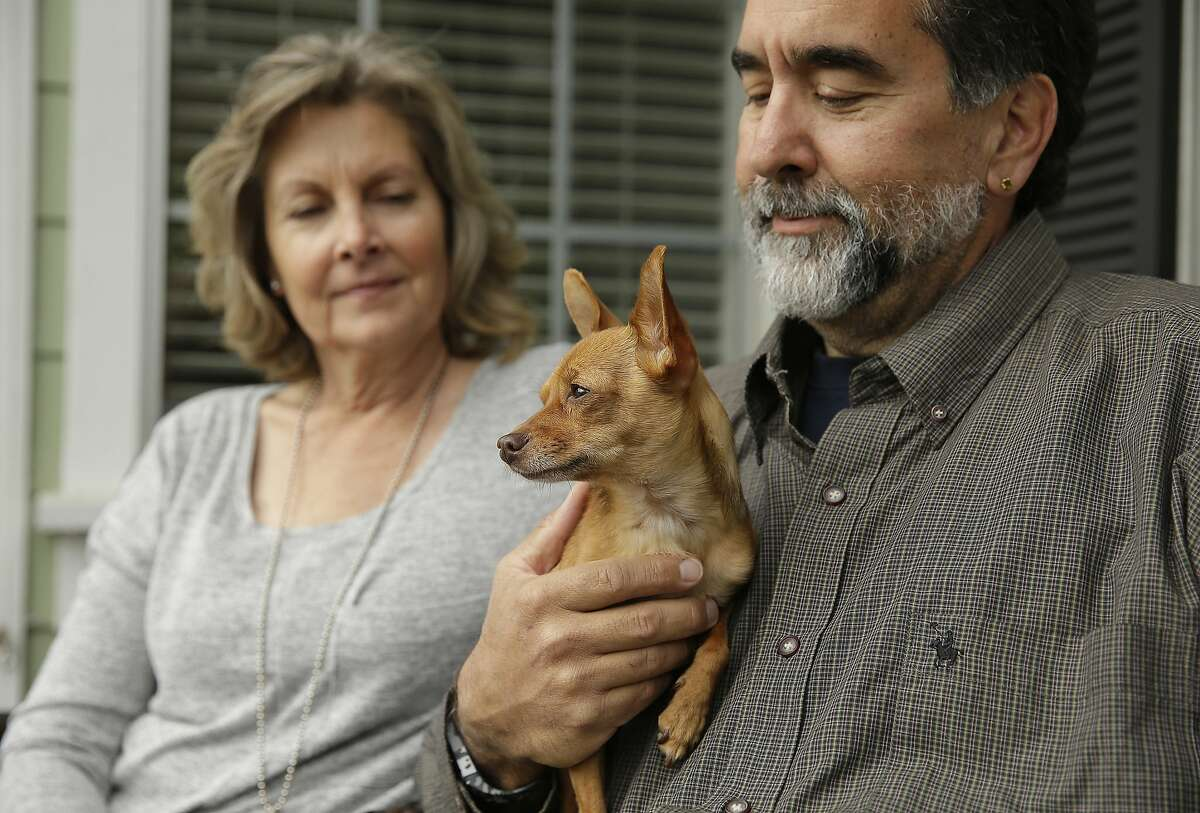 In this Monday, March 16, 2015 photo, Lynn and Tony Mazzola sit with their new dog, Lily, at their home in San Carlos, Calif. Through DNA testing in the