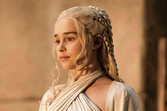 Emilia Clarke  in season five of HBO's Game of Thrones.