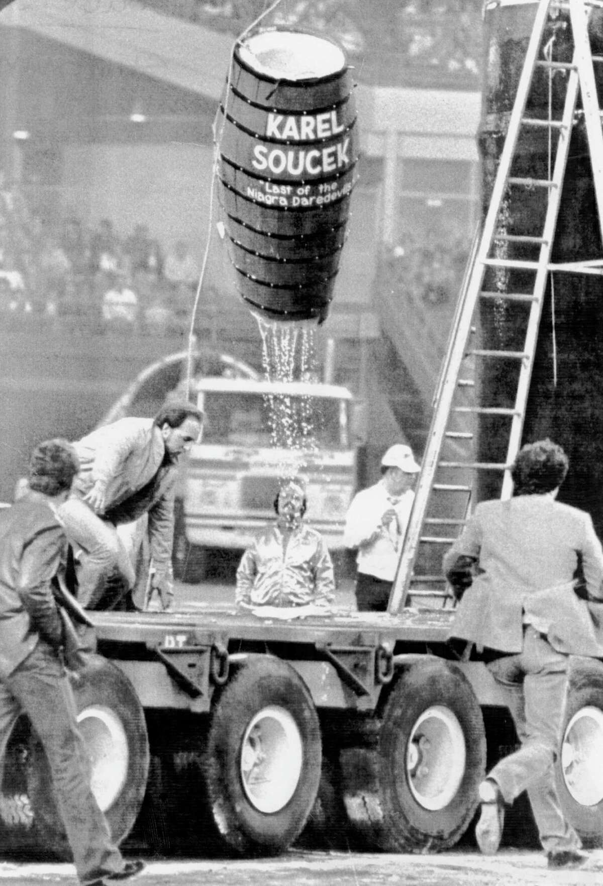Karel Soucek (1947 - 1985) was a Canadian professional stuntman who developed a shock-absorbent barrel. He died following a demonstration involving the barrel being dropped from the roof of the Houston Astrodome. He was fatally wounded when his barrel hit the rim of the water tank meant to cushion his fall.