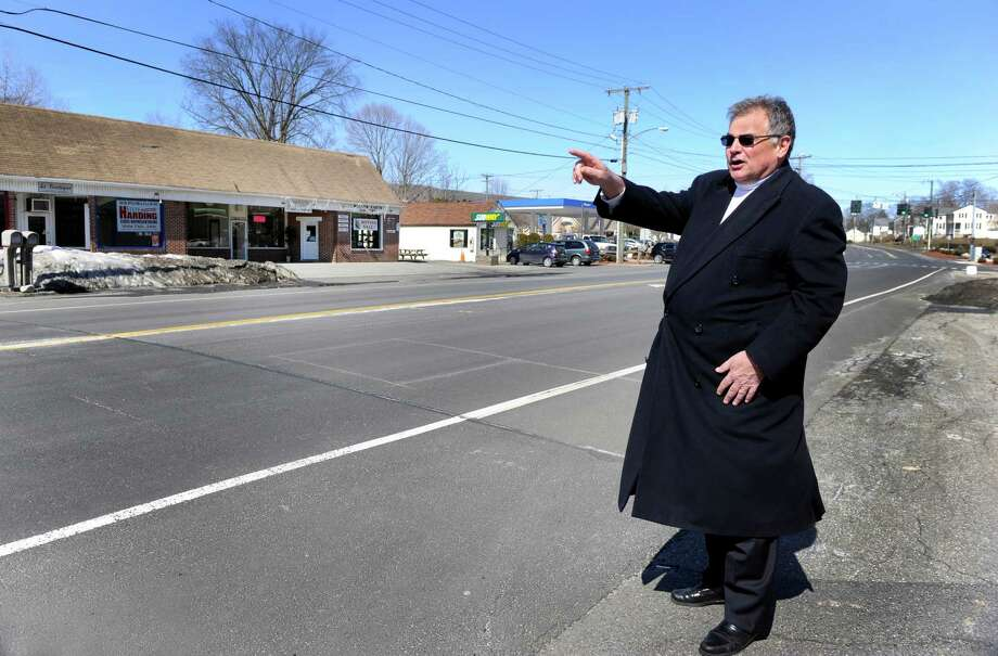 Brookfield, Conn. First Selectman Bill Tinsley talks about the first stages of improvements to be made at the Four Corners in Brookfield, made possible by a grant, Thursday, March 19, 2015. Photo: Carol Kaliff / The News-Times