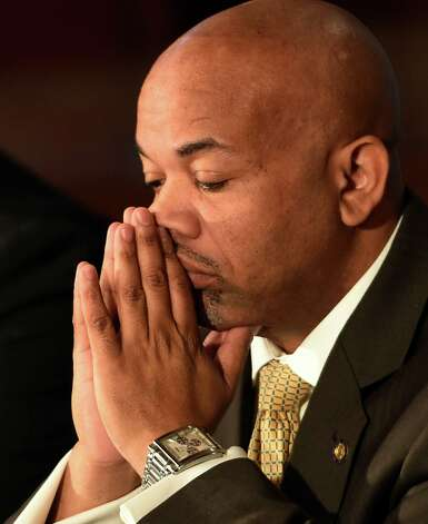 Speaker Carl Heastie pauses in reflection during the announcement of the details of a two-way ethics reform agreement he reached with Governor Andrew Cuomo Tuesday night during a press conference Wednesday morning, March 18, 2015, in the Red Room of the Capitol in Albany, N.Y.   Highlights include a swipe card requirement for lawmakers claiming per diems and detailed outside income disclosure.    (Skip Dickstein/Times Union) Photo: SKIP DICKSTEIN / 10031089A