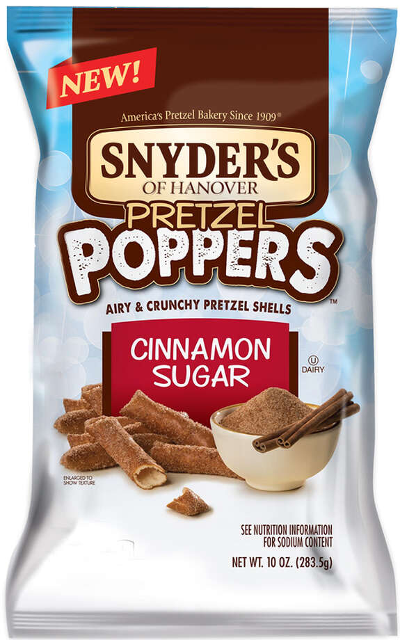 Pretzels — the addicting snack that we all know and love — have just been revamped with the new Snyder's of Hanover line of Pretzel Poppers. The snack comes in three flavors, including original, three cheese and cinnamon sugar. In the cinnamon sugar version, the hollow, crunchy pretzel shell is dusted with a sprinkling of cinnamon sugar sweetness that nicely complements the underlying salty base. It's a light, airy take on the traditional treat. (Snyder's of Hanover)