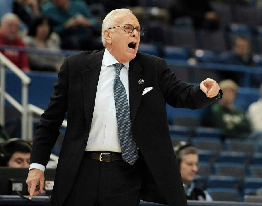 SMU head coach Larry Brown calls out to his team during the first half against East Carolina in the quarterfinals of the American Athletic Conference tournament on March 13, 2015, in Hartford, Conn. Photo: Jessica Hill /Associated Press / FR125654 AP