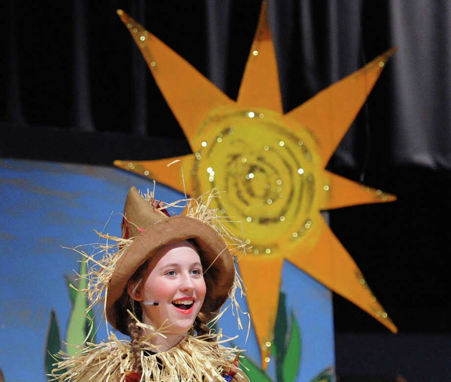 Central Middle School 8th grade student, Paige Hayes, 13, as the Scarecrow, during the dress rehearsal for the Central Middle School production of 'The Wiz' in the auditorium at the school in Greenwich, Conn., Wednesday, March 18, 2015. One of the directors of the play, Erin Schilling, said the production is meant to celebrate the 36th year of the school's theater arts program and has the traditonal cast of 8th graders as well as a supporting cast of 6th and 7th graders. Schilling said tickets are $10 and can be purchased at the school just prior to the performances at 7 pm on March 20 & 21st (Friday and Saturday night). The school is located at 9 Indian Rock Lane in Greenwich. Photo: Bob Luckey / Greenwich Time
