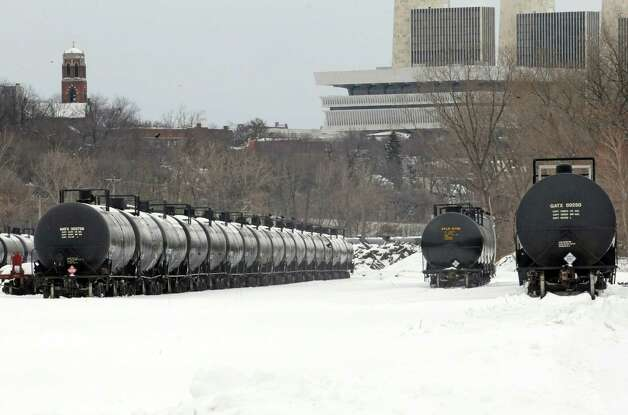 Oil trains in the Port of Albany on Thursday Feb. 12, 2015 in Albany, N.Y. (Michael P. Farrell/Times Union) Photo: Michael P. Farrell