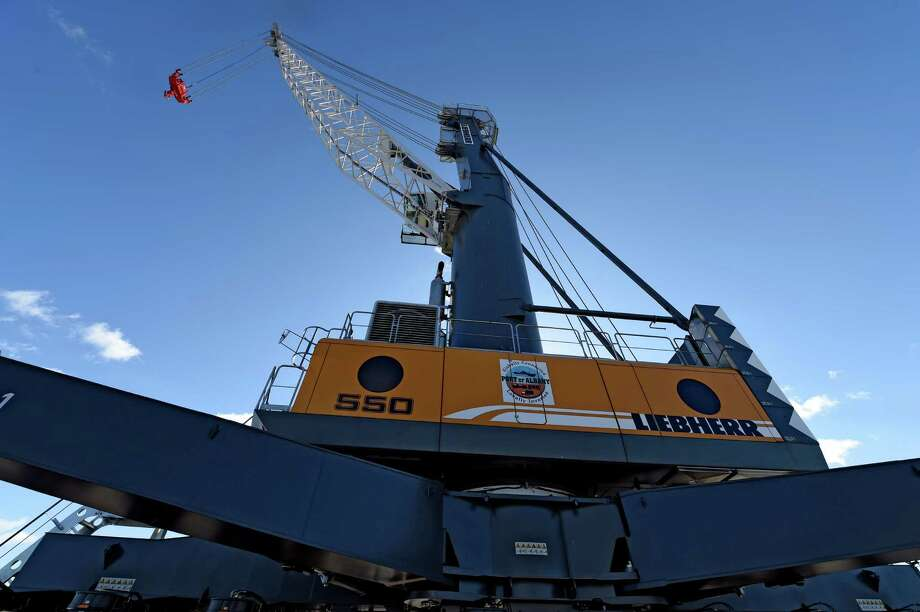 The heavy lift new crane unveiled for the public by the Albany Port Commission Wednesday morning March 18, 2015 at the Port of Albany in Albany, N.Y.    (Skip Dickstein/Times Union) Photo: SKIP DICKSTEIN / 00031075A