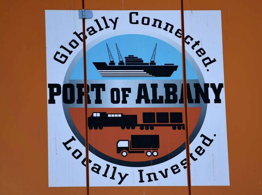 The logo on the side of the new crane unveiled for the public by the Albany Port Commission Wednesday morning March 18, 2015 at the Port of Albany in Albany, N.Y. (Skip Dickstein/Times Union)