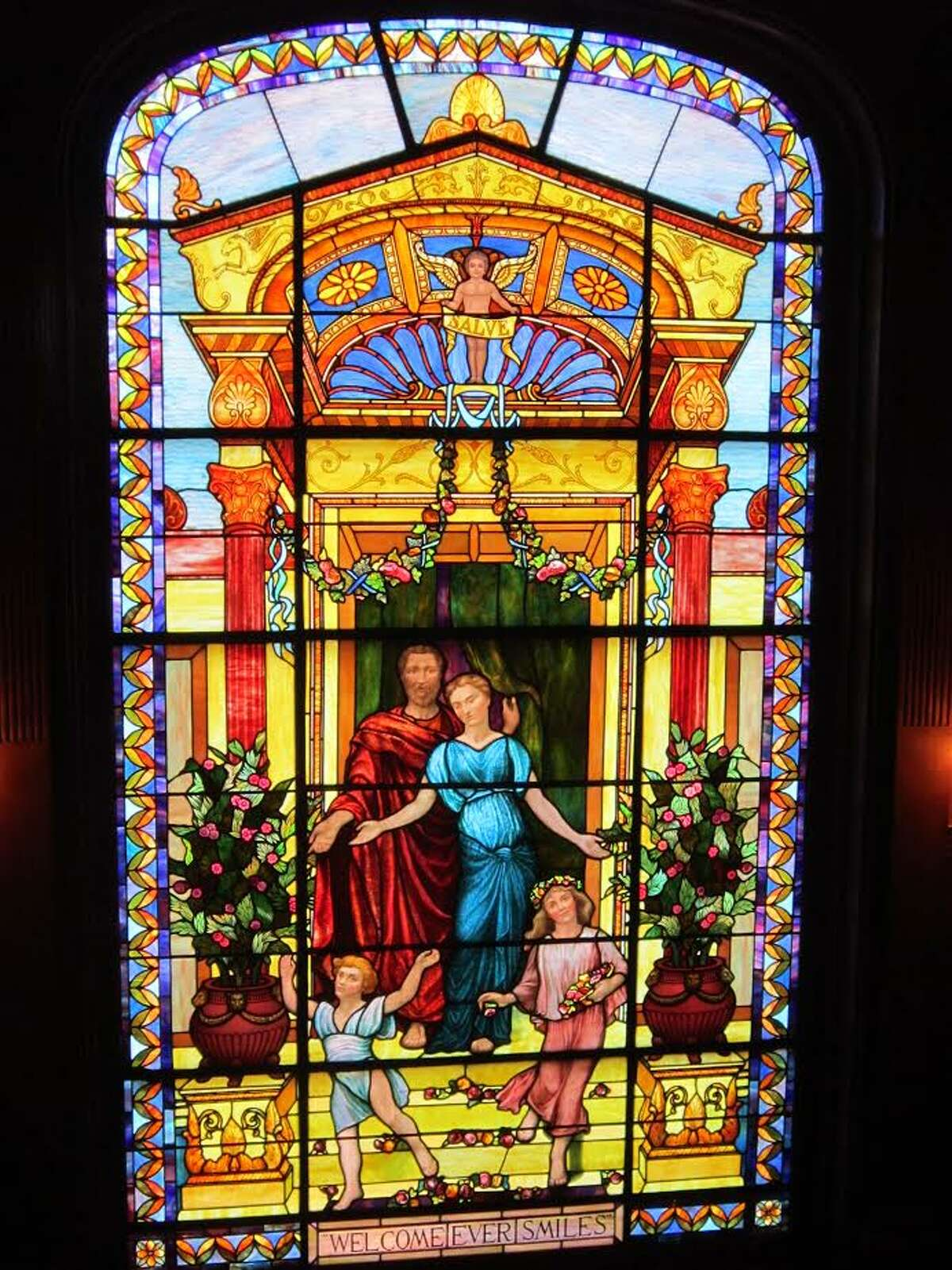 Galveston's Moody Mansion features this bright and colorful stained glass window.