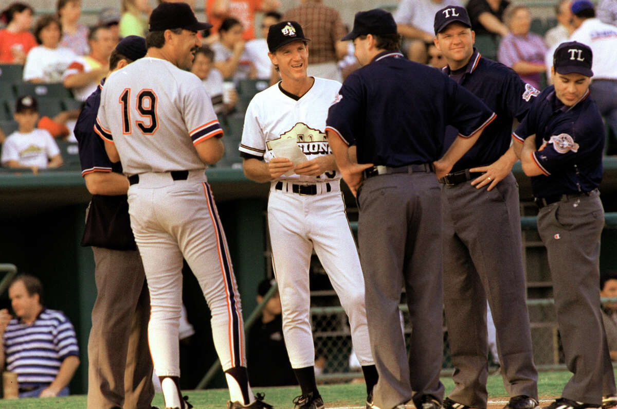 Missions manager Ron Roenicke (center) talks to the opponent's manager and the umpire crew before a 2001 Texas League game at Wolff Stadium.