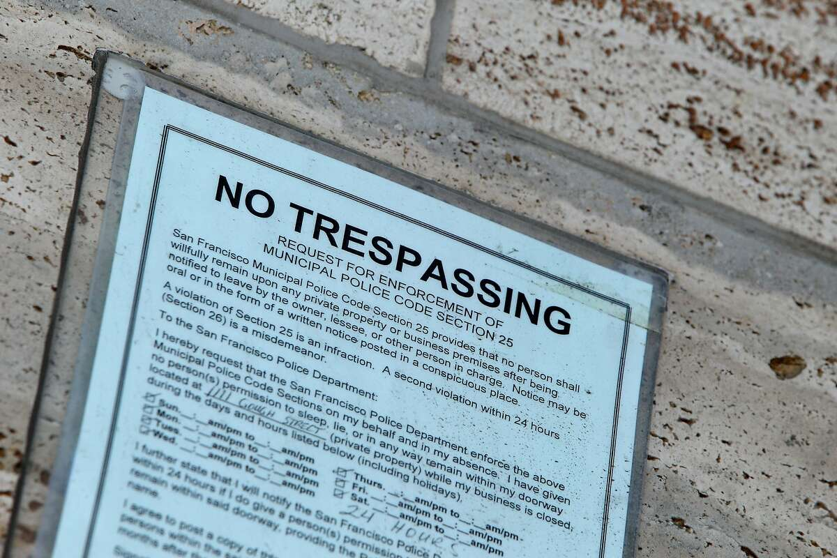 A sign prohibiting trespassing is seen near the stairwell at St. Mary's Cathedral, Wednesday, March 18, 2015, in San Francisco, Calif.