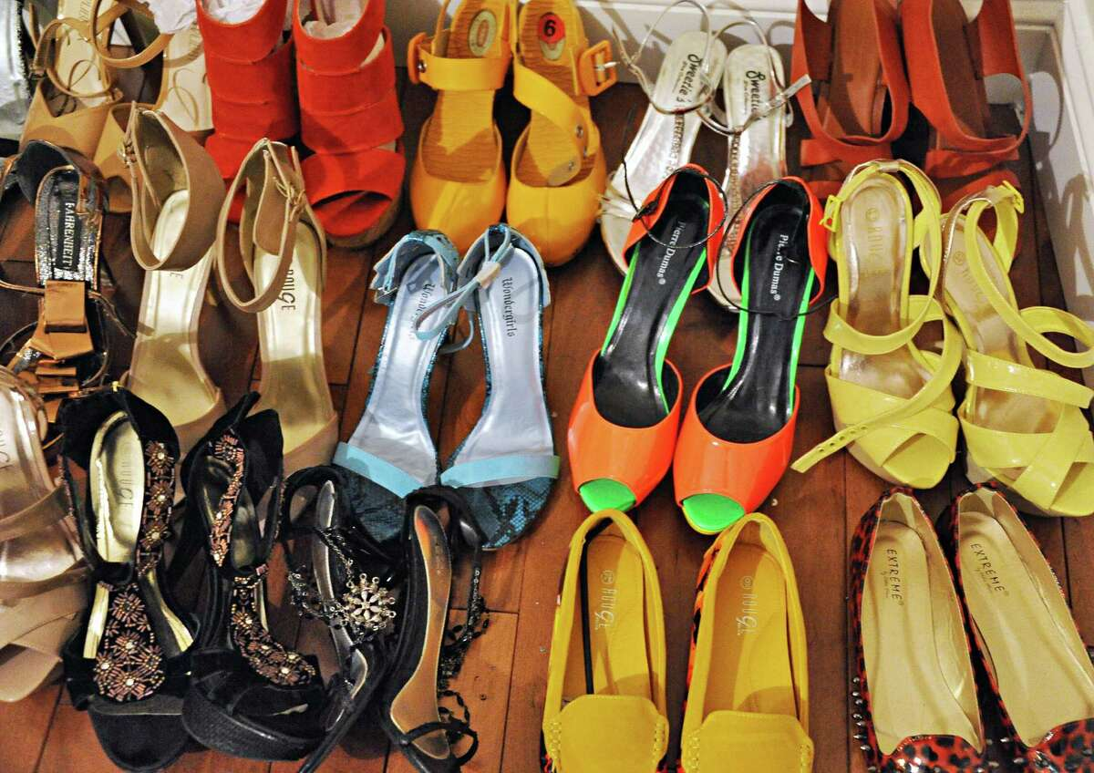 Shoes at local designer Daniel Mozzes' Pearl Street studio ready for the upcoming fashion show to benefit the Leukumia/Lymphoma Society Wednesday March 18, 2015 in Albany, NY. (John Carl D'Annibale / Times Union)