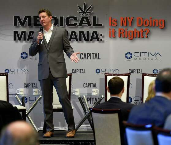 Josh Stanley, founder of CITIVA Medical outlines the benefits of medical marijuana during a Capital New York event Wednesday morning March 18, 2015 in Albany, N.Y.   (Skip Dickstein/Times Union) Photo: SKIP DICKSTEIN / 00030918A