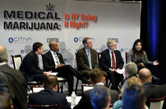 A panel of State and private sector speakers discuss the implementation of New York's medical marijuana bill at a Capital New York event Wednesday morning March 18, 2015 in Albany, N.Y.  The participants from left to right; Dan Goldberg, Capital NY; Alphonso David, Counsel to the Governor;  Steve Fox, of counsel, Vicente Sederberg, LLC;  Assemblyman Richard Gottfried and State Senator Diane Savino.    (Skip Dickstein/Times Union) Photo: SKIP DICKSTEIN / 00030918A