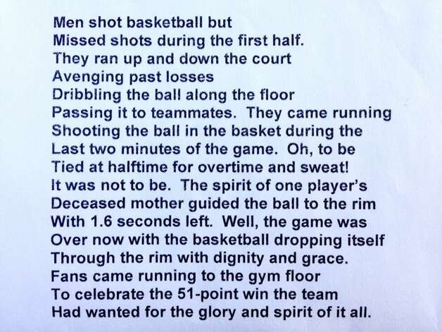 This is the poem University at Albany professor Leonard A. Slade, Jr. wrote about the men's basketball team's win over Stony Brook University. (Paul Buckowski / Times Union)