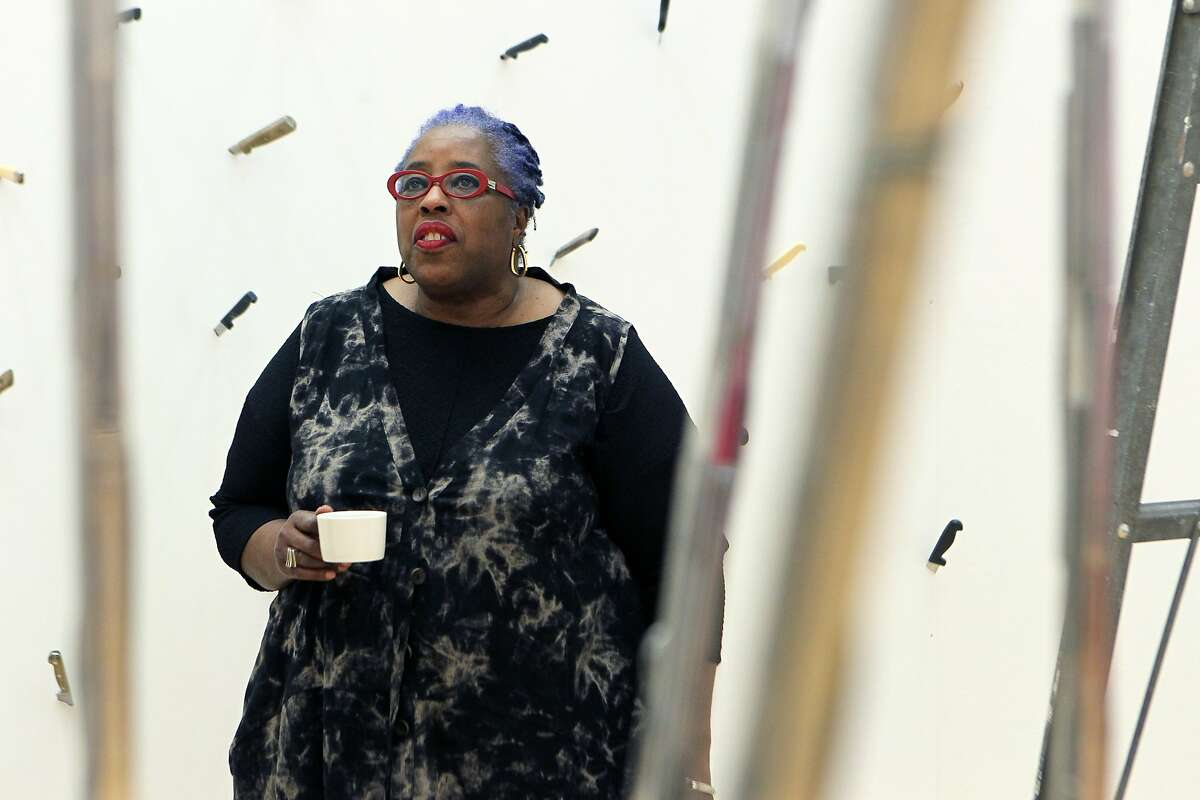Bay Area artist Mildred Howard is at the Richmond Art Center to uncrate her work and prepare for her solo show later this month, pictured Friday, March 13, 2015, in Richmond, Calif.
