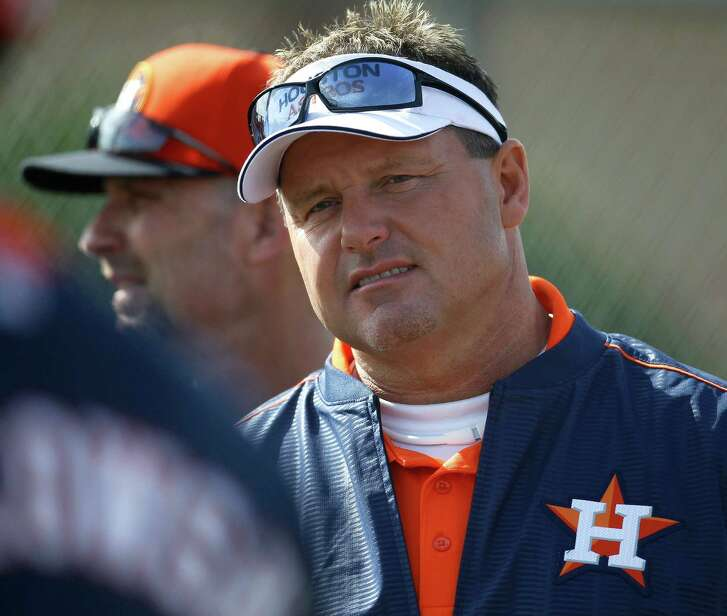 Former Houston Astros pitcher Roger Clemens stopped in during the first day of spring training workouts for pitchers and catchers at their Osceola County training facility, Saturday, Feb. 21, 2015, in Kissimmee. ( Karen Warren / Houston Chronicle  )
