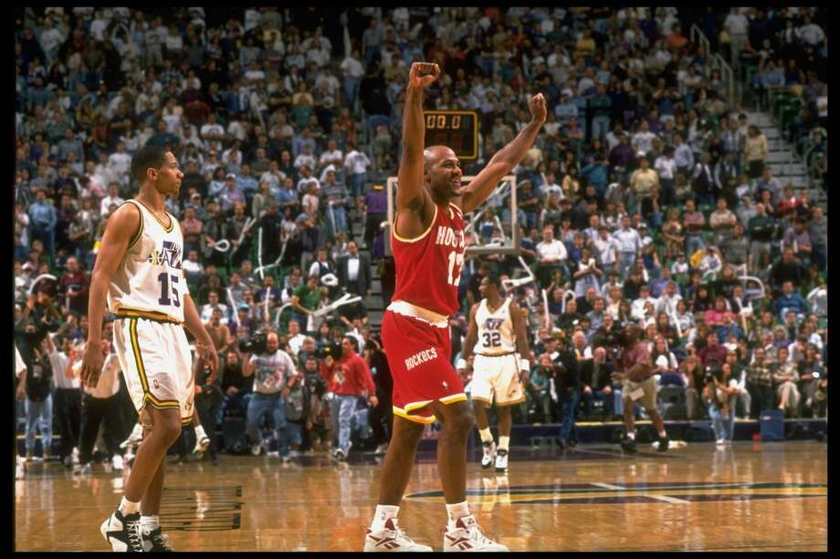 Mario Elie and the Rockets savored a first-round victory over the Jazz in 1995 that saw them rally from a 2-1 deficit and come back to win Game 5 in the hostile confines of Salt Lake City's Delta Center. Photo: Norm Perdue, The LIFE Images Collection/Getty