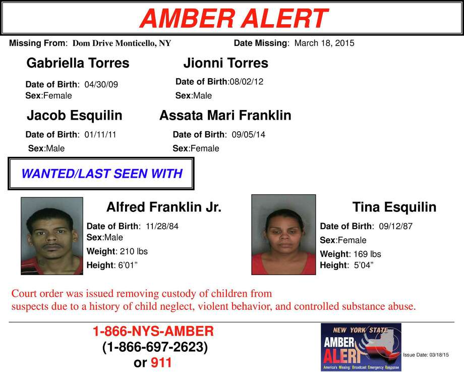 An Amber Alert was issued for the children after deputies said they vanished with Tina Esquilin and Alfred Franklin Jr. The children were taken from a home at Dom Drive in Monticello at about 6 p.m. Wednesday, according to the Sullivan County Sheriff's Office. (Sullivan County Sheriff's Office) Photo: Cgoffred
