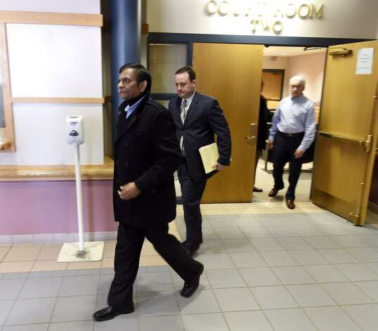 Alex Patel leaves Colonie Town Court on Thursday, March 19, 2015. (Skip Dickstein/Times Union)