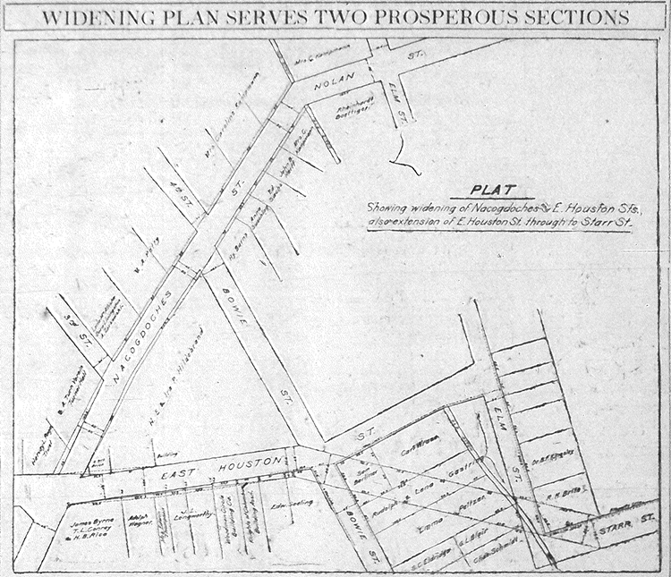 1918 Map Shows Downtown Street Widening
