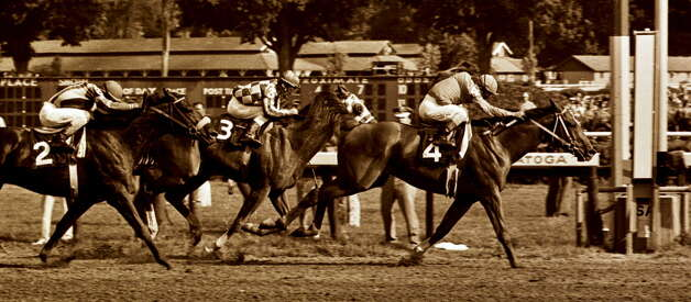 #4 Onion outduels #3 Secretariat to the wire in the 1973 Whitney at the Saratoga Race Course in Saratoga Springs, NY. (Skip Dickstein/Times Union archive) Photo: SKIP DICKSTEIN / ALBANY TIMES UNION