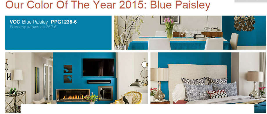 "PPG Pittsburg Paints 2015 color of the year: Blue Paisley.  ""With its bohemian flare and global ties, Blue Paisley can be paired with a charming, rich yellow-gold, or used as an accent wall, pulling in some mystery with black, gray and white."" Photo: PPG Pittsburg Paints"