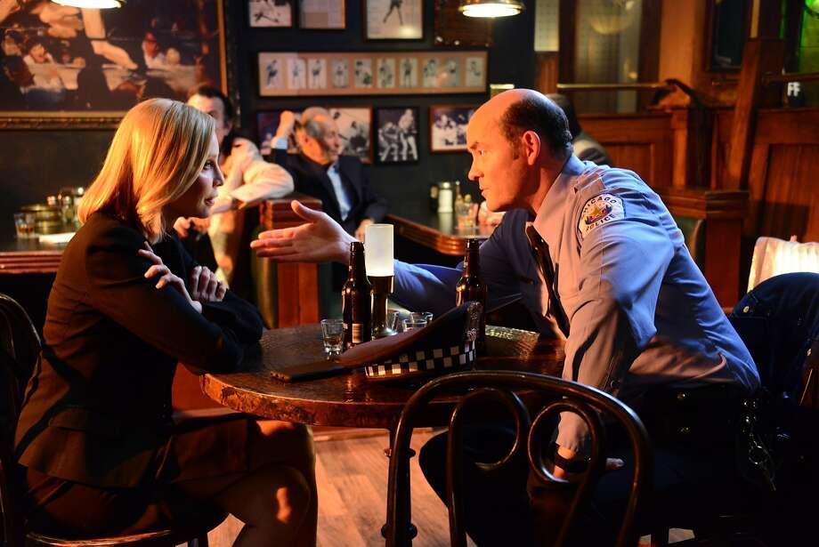 "Calista Flockhart (Ellen) and David Koechner (Phil) in the new season of ""Full Circle"" from DirecTV. Photo: DirecTV"
