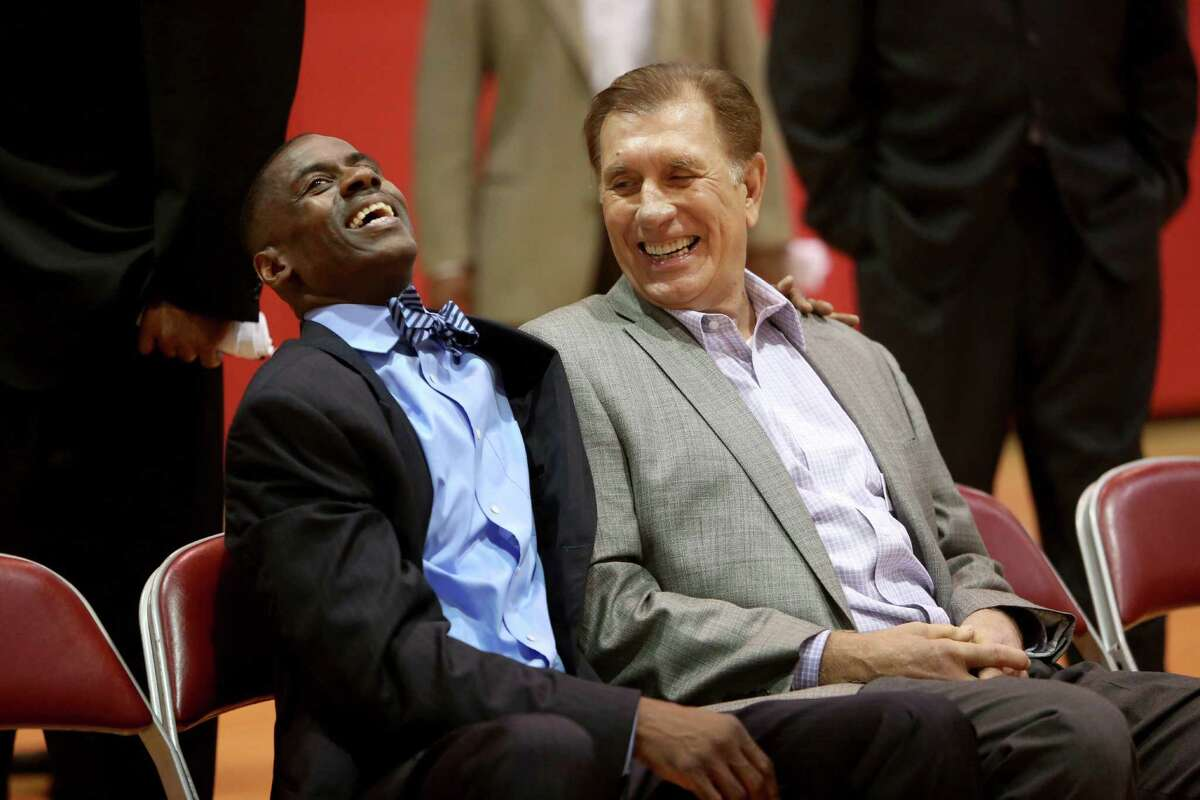 Former player Vernon Maxwell, left, with former head coach Rudy Tomjanovich at a photo shoot honoring the Houston Rockets 20th anniversary of the 1993-94 and 1994-95 NBA back-to-back champion teams at the Toyota Center Thursday, March 19, 2015, in Houston, Texas.