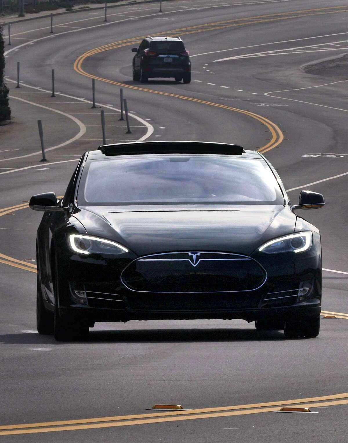 The Tesla Model S seen at Ocean Beach in San Francisco, California, on Monday, November 11, 2013.