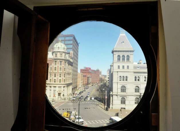 A view looking out onto Broadway from a apartment inside of the Argus Building at 412 Broadway on Thursday, March 12, 2015, in Albany, N.Y.  This space will be filled with a large clock that will be visible from the street.   (Paul Buckowski / Times Union) Photo: PAUL BUCKOWSKI / 00030983A