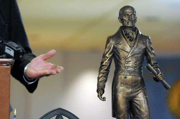 The unveiling of a model of the Col. Albert Pawling Memorial Statue by sculptor Patrick Pigott during a fundraising campaign kickoff at the Rensselaer County Office Building on Thursday March 19, 2015 in Troy, N.Y.  (Michael P. Farrell/Times Union) Photo: Michael P. Farrell / 00031050A