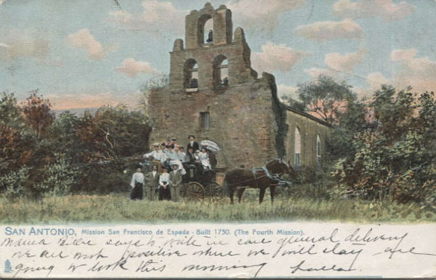 Then: When people went to Mission Espada around 1908 (when this card was postmarked), you could pose in front of it with your horse and buggy.