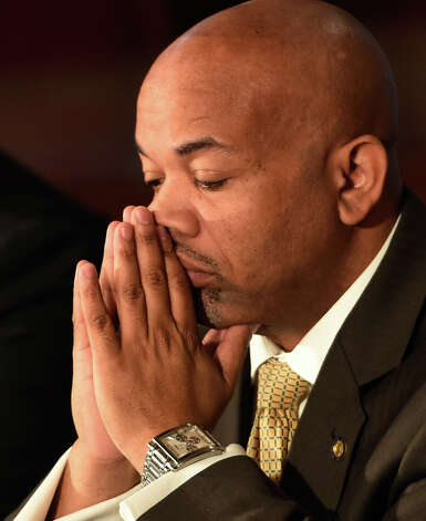 Assembly Democratic Majority Speaker Carl Heastie pauses in reflection during the announcement of the details of a two-way ethics reform agreement he reached with Governor Andrew Cuomo Tuesday night during a press conference Wednesday morning March 18, 2015 in the Red Room of the Capitol in Albany, N.Y.   Highlights include a swipe card requirement for lawmakers claiming per diems and detailed outside income disclosure.    (Skip Dickstein/Times Union) Photo: SKIP DICKSTEIN, ALBANY TIMES UNION / 10031089A