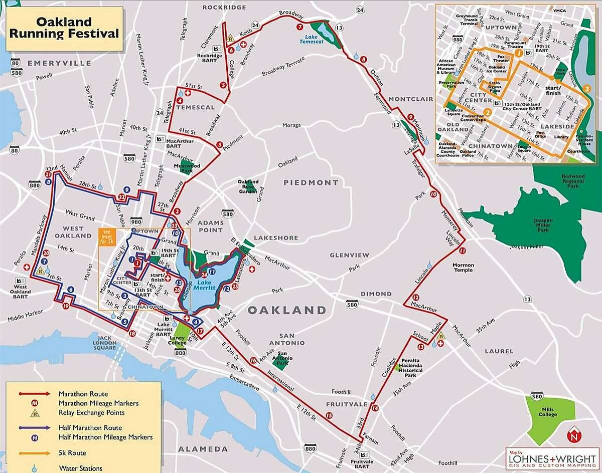 The official course map of the 2015 Oakland Running Festival.