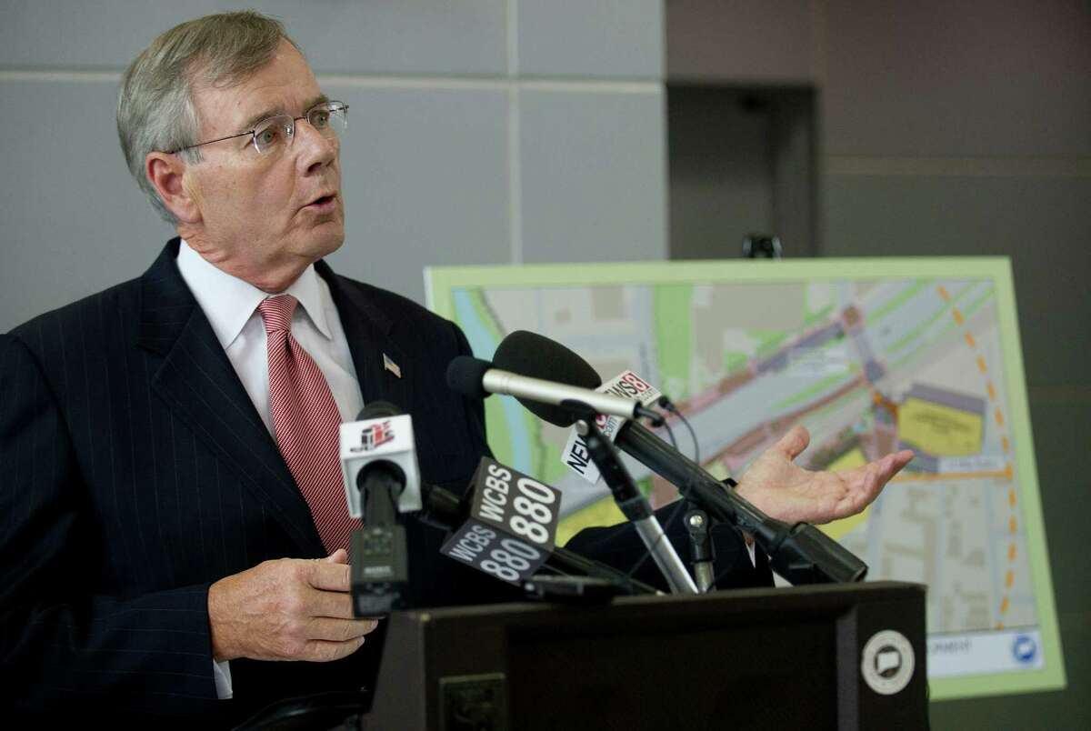 John McClutchy Jr., President of JHM Group, speaks during a press conference at the Stamford train station during which the Connecticut Department of Transportation announced the winning bidder for the station's redevelopment.
