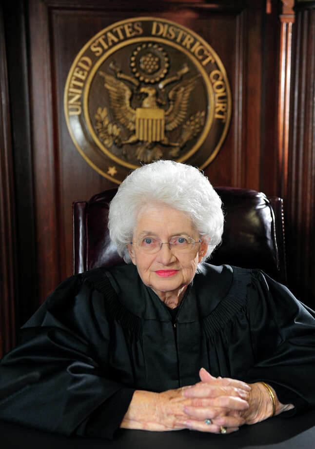 Ellen Bree Burns, a Senior United States federal judge at Federal Courthouse in New Haven, poses for a portrait in her courtroom in New Haven, Conn., on Thursday Mar. 19, 2015. After almost 40 years on the bench, Burns will be retiring at 91 years old. Photo: Christian Abraham / Connecticut Post