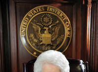 Ellen Bree Burns, a Senior United States federal judge at Federal Courthouse in New Haven, poses for a portrait in her courtroom in New Haven, Conn., on Thursday Mar. 19, 2015. After almost 40 years on the bench, Burns will be retiring at 91 years old.
