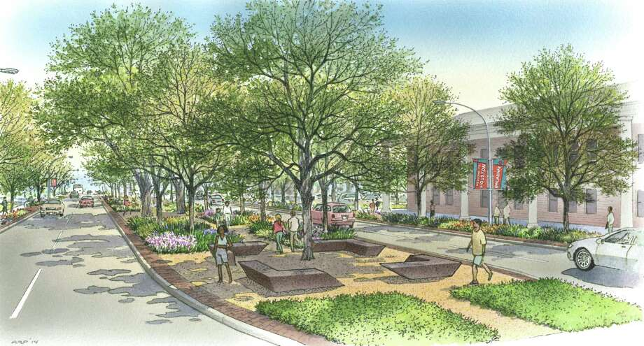 Scenic Houston is leading an effort to add trees, better sidewalks and modern lighting on the 2-mile stretch of Broadway between Hobby Airport and Interstate 45. The area often creates the first impression of Houston for visitors leaving the airport. / ONLINE_YES