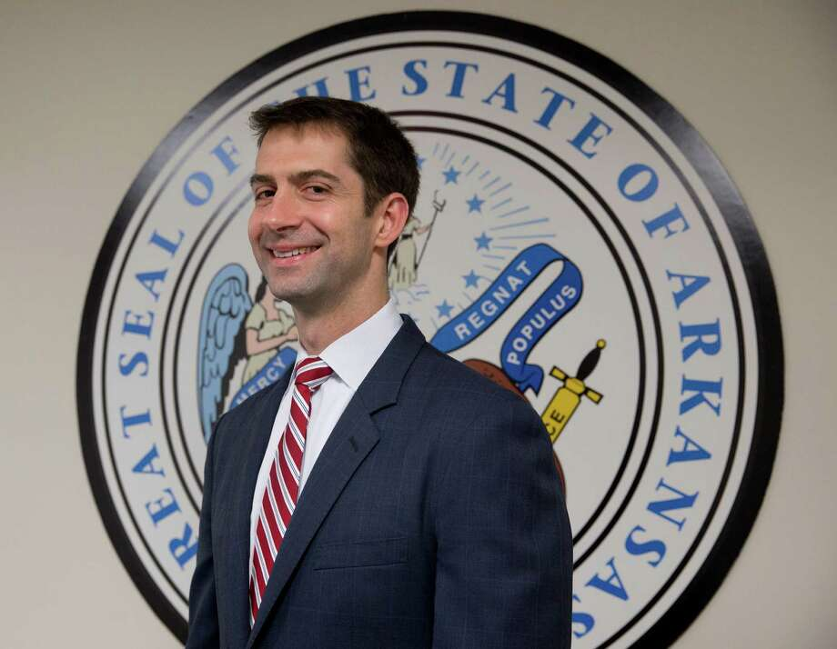 Sen. Tom Cotton, R-Ark., greets the media in his office on Capitol Hill recently. One of our readers decries the letter that Cotton and 46 other senators recently sent to Iran in an effort to undermine the nuclear arms deal President Obama is trying to forge with the Middle East country. Photo: Carolyn Kaster /Associated Press / AP