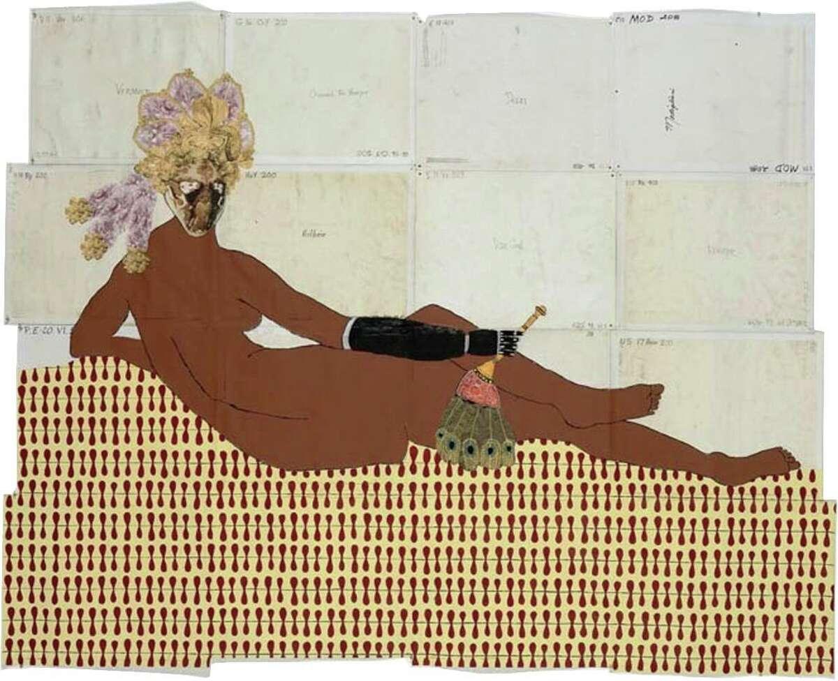 "Katherine Sherwood's ""Grande Odalisque,"" mixed media on found linen."