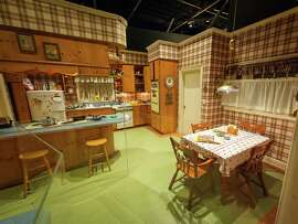 """The """"Mad Men"""" set of Betty and Don Draper's kitchen in their suburban home is displayed in the """"Matthew Weiner's Mad Men"""" exhibit at the Museum of the Moving Image in New York."""