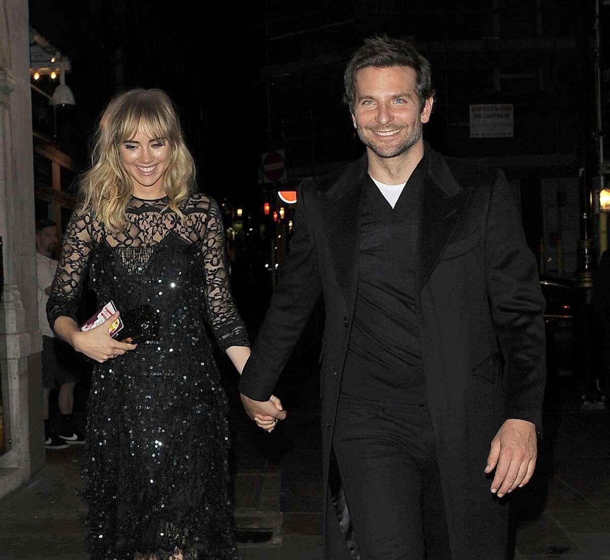 Suki Waterhouse and Bradley Cooper head to J Sheeky restaurant for dinner on September 15, 2014 in London, England.