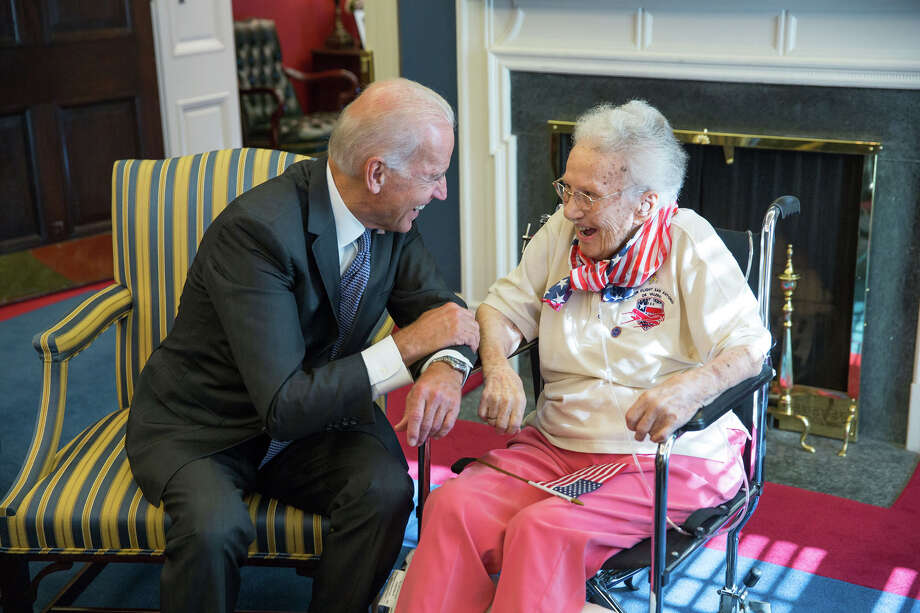 Vice President Joe Biden visits with World War II veteran Lucy Coffey during her visit to the capital in July. Coffey died at the age of 108 Thursday. Photo: Lawrence Jackson /The White House / This official White House photograph is being made available only for publication by news organizations and/or for personal use