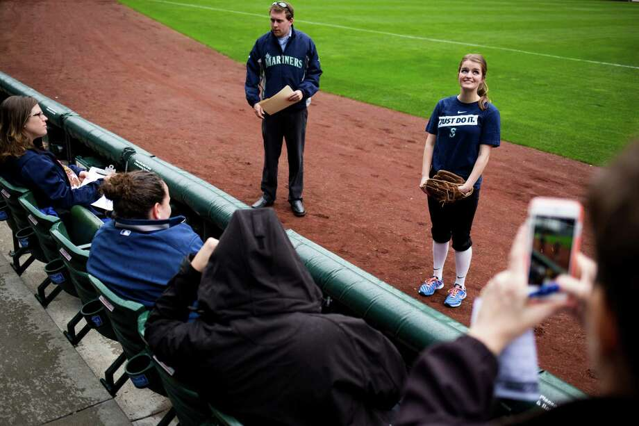 Young female athletes interview to compete for 10 to 12 positions available as Mariners Ball Girls for the upcoming 2015 season. Photographed Thursday, March 19, 2015, at Safeco Field in Seattle, Washington. Candidates were judged on their fielding skills and through an interview process. In addition to fielding foul balls during games, Mariners Ball Girls help with pregame activities, interact with fans and act as ambassadors for the Mariners in a variety of settings. Photo: JORDAN STEAD, SEATTLEPI.COM / SEATTLEPI.COM