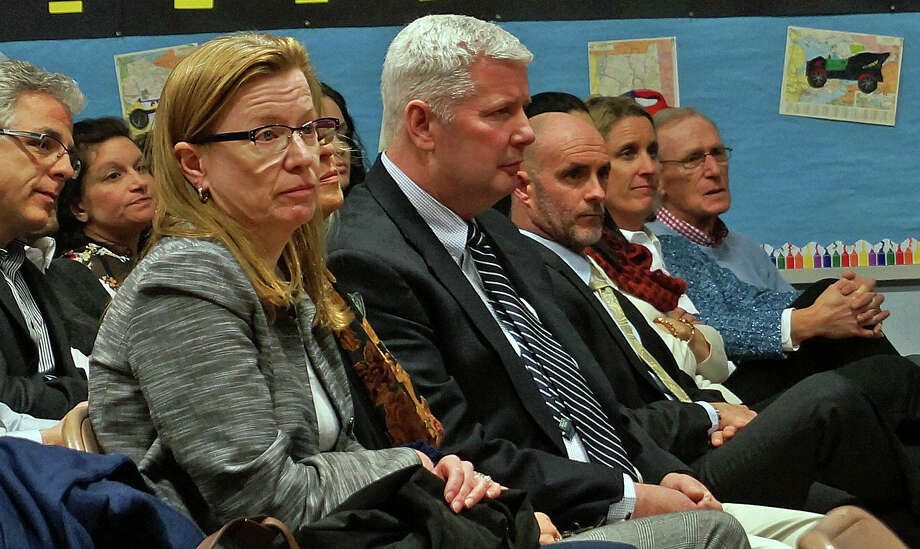 School administrators listen as the Representative Town Meeting discusses its contract. The contract, rejected by the RTM in December, was approved. Photo: Genevieve Reilly / Fairfield Citizen