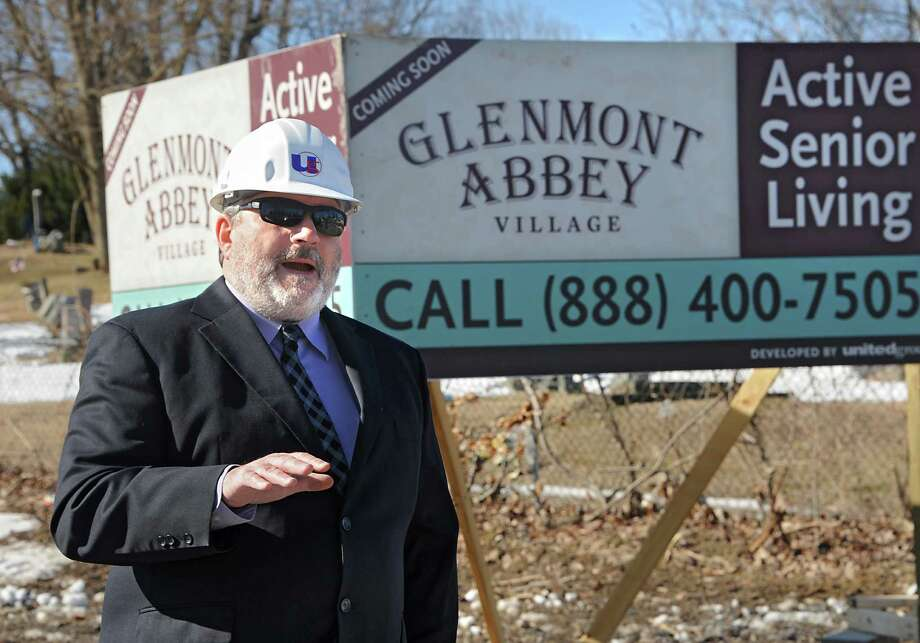 Tim Haskins of United Group of Companies speaks during a groundbreaking ceremony for Glenmont Abbey Village on Thursday, March 19, 2015 in Glenmont, N.Y. (Lori Van Buren / Times Union) Photo: Lori Van Buren / 10031091A