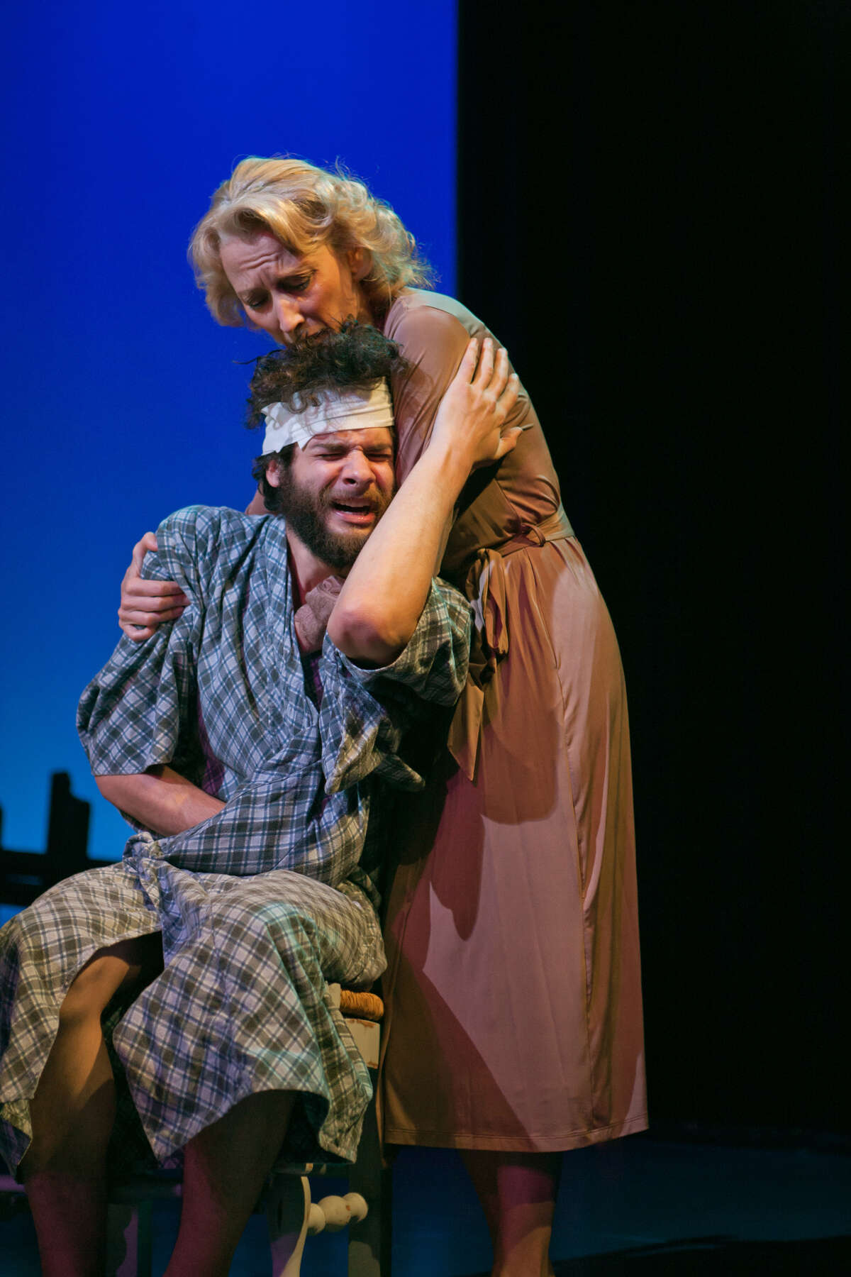 """Emma (Carrie Paff) shows some rare maternal concern for her son Con (Adam Magill) in San Francisco Playhouse's """"Stupid F--ing Bird"""""""