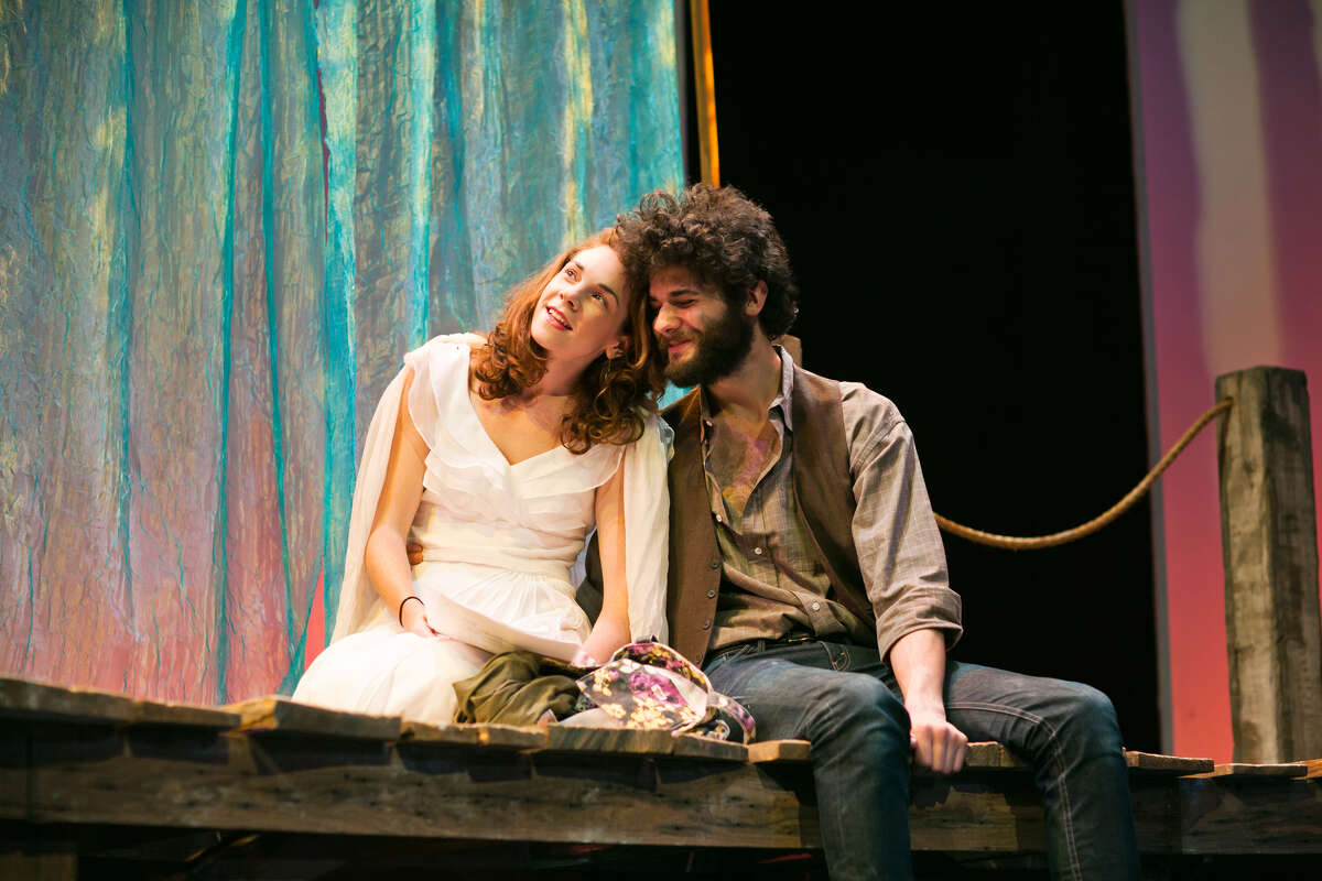 Nina (Martha Brigham, left) and Con (Adam Magill) prepare for a performance of his play within the play in San Francisco Playhouse's