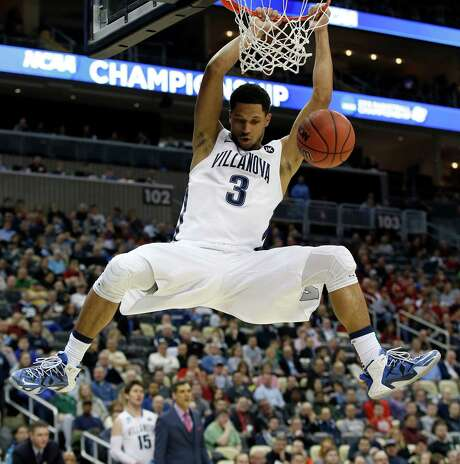 Villanova's Josh Hart soared on his way to this thunderous dunk, as did his teammates in their 93-52 rout of Lafayette in their NCAA Tournament opener Thursday night in Pittsburgh. Photo: Yong Kim, MBR / Philadelphia Daily News